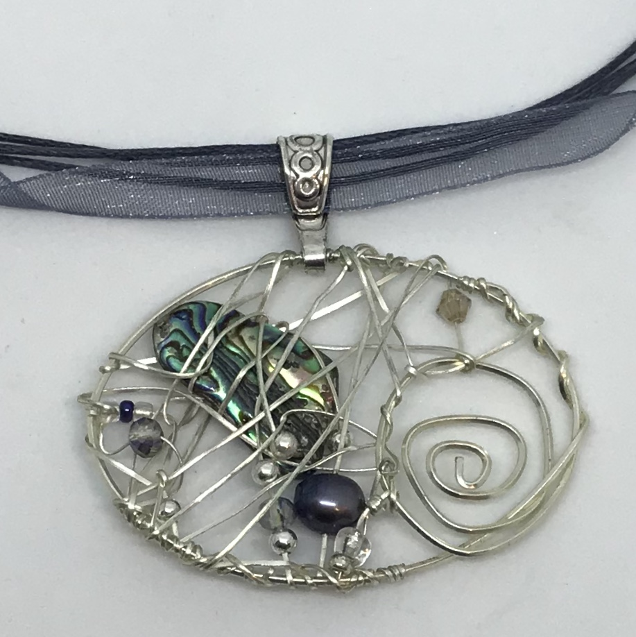 Balance - Beaded Wire Abalone & Black Pearl Pendant Necklace